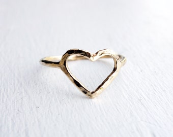 14k Yellow Gold Open Heart Ring