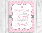 Custom Printable Cute As a Button Pink and Gray Baby Shower Sign and Game Package RESERVED