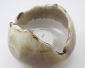 Light Bringer Ceramic Candle Holder in Caramelized Linen