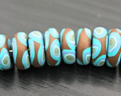 Set Of Handmade Artisan Polymer Clay Beads in Dark Brown Turquoise and Lavender