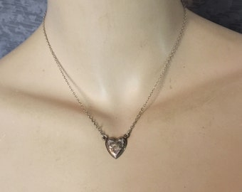 1950s - 1960s Charming Engraved Sterling Heart Necklace, Excellent