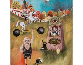 Circus Performers, Fortune Teller, Strong Man, Tight Rope Walker, Horse Acrobat, Circus Tents, Pop Surrealism, Heather Renaux