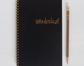 gold foil notebook - wanderlust