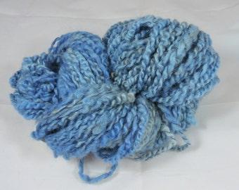 Handspun Novelty Art Yarn Coils Saori Weaving Kid Mohair Shetland Blue 16-1-45