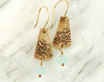 Sparrow Earrings - Bronze Bird Earrings with Aquamarines and Gold Fill Wires