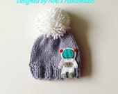 Knit Chunky Grey Astronaut Hat with Pom Pom, Customize Colors, Baby to Adult Hats, Made in USA, knitted hat