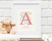 Personalized Monogram Art : New Baby Gift, Baby Shower, Wedding, Bridal Shower, Baby Name, Personalized Nursery Art - Art Print