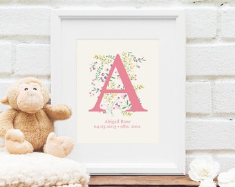 Personalized Monogram Art : New Baby Gift, Baby Shower, Wedding, Bridal Shower, Baby Name, Personalized Nursery Art - 8x10 Art Print