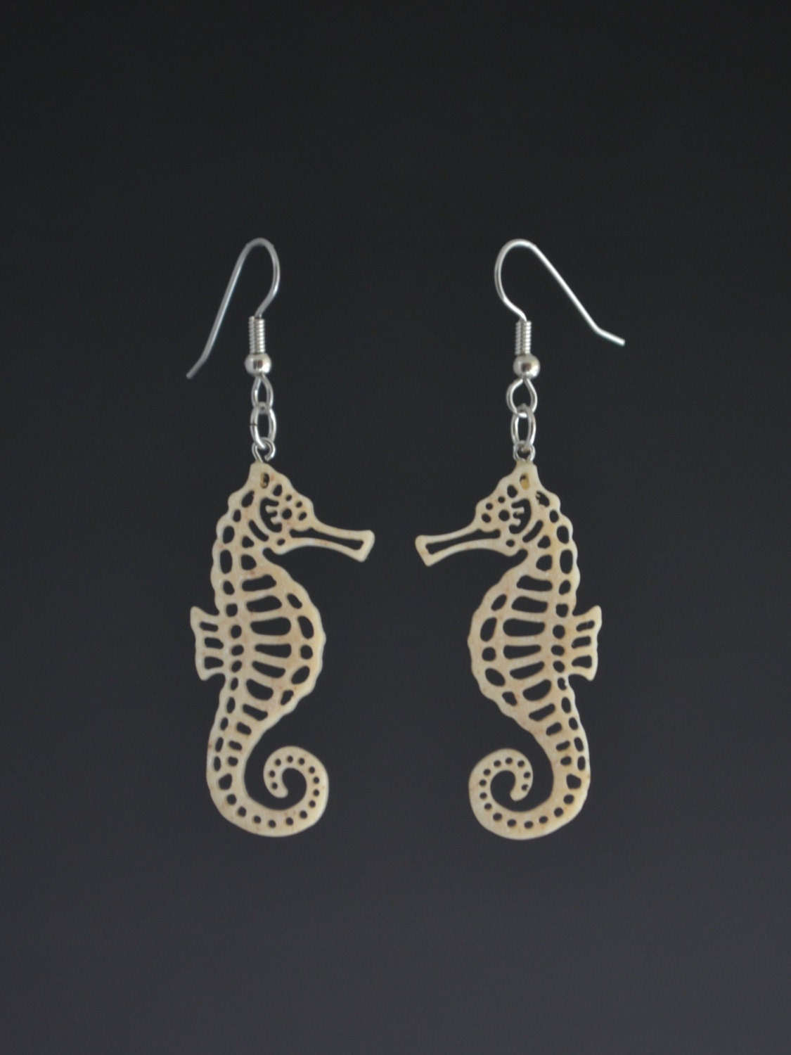 Seahorse earrings white pierced earrings upcycled corian for Local handmade jewelry near me