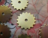 ON SALE Small Solid Sprockets Gear or Cog Charms Brass Stamp Blanks 16mm 6 Pcs