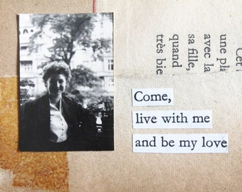 Small Original Vintage Photo Mixed Media Collage Cut Up Poetry