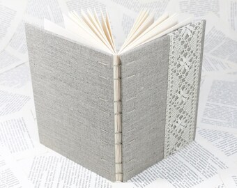 Large Natural Linen Hardcover Notebook with Vintage Lace - Coptic Binding