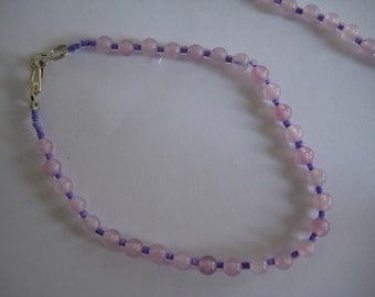 Choker and Bracelet set in Lilac and Purple. Handstrung