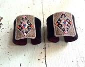 ON RESERVE! Velvet and Antique Beaded Adjustable Cuffs - Formal Garden
