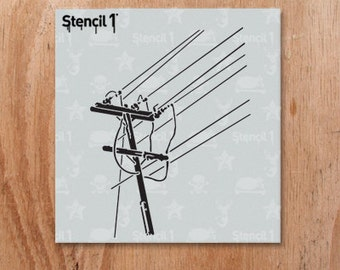 "Power Lines Stencil- Reusable Craft & DIY Stencils- S1_01_32_S -Small-(5.75""x6"")- By Stencil1"