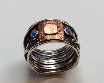 Opals ring, gypsy ring, Silver copper band, wire wrap band, simple ring, hippie ring, bohemian ring, twotones ring - Under a Bridge R2322