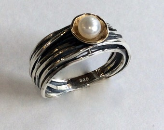Silver gold ring, Engagement pearl ring, bohemian ring, gold bowl ring, simple ring, wire wrap ring, single pearl ring - Live with me R2128