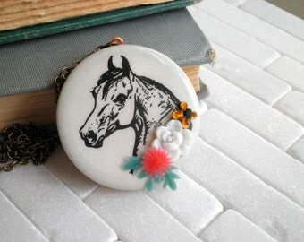 Lucky Horse Vintage Horse Head Cameo Upcycled Pin Necklace. So Very Charming Cowgirl Chic Equestrian Pendant. Kentucky Derby Bib Necklace