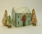 Handmade Wooden Blue House with Wreath Set- Christmas Village- Four Trees- Natural Mica Snow