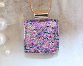 Petite, Pink Necklace, Dichroic Pendant, Glass Pendant, Fused Glass Jewelry, Gold, Necklace Included, A7