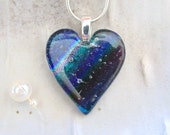 Fused Dichroic Heart Pendant, Glass Jewelry, Blue, Necklace Included, A8