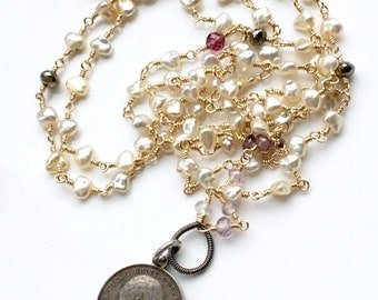 SALE - 40% Off - Vintage Love Token Necklace - Mixed Metal featuring Pearls and Gemstones - Opera Length