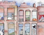 Art Print 8x10 Cats in Windows NYC