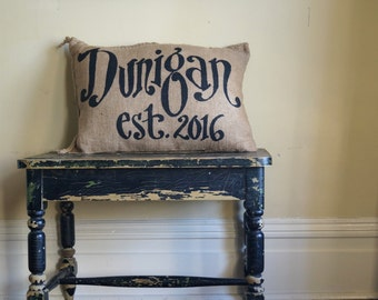 Name and Date pillow - est. year - Quincy Burlap Pillow - Custom Name