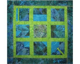 Art Quilt, Fabric Wall Hanging, Blue & Green Fiber Art, Abstract Window Art