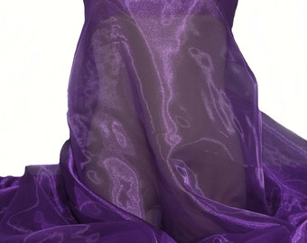 "Iridescent Organza fabric 60"" wide.. sheer, Purple /plum  .. formal wear, bridal, pageant, crafts, costumes, home decor 1 yard"