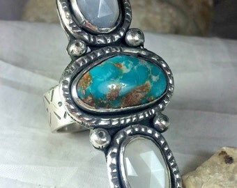 Turquoise Ring,Statement Ring, Silver , Turquoise and Moonstone ring, turquoise jewelry, Triple turquoise and moonstone ring, OOAK