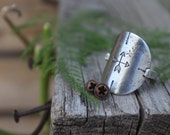 SZ 9 - Determined To RIse - Sterling Silver Shield Ring