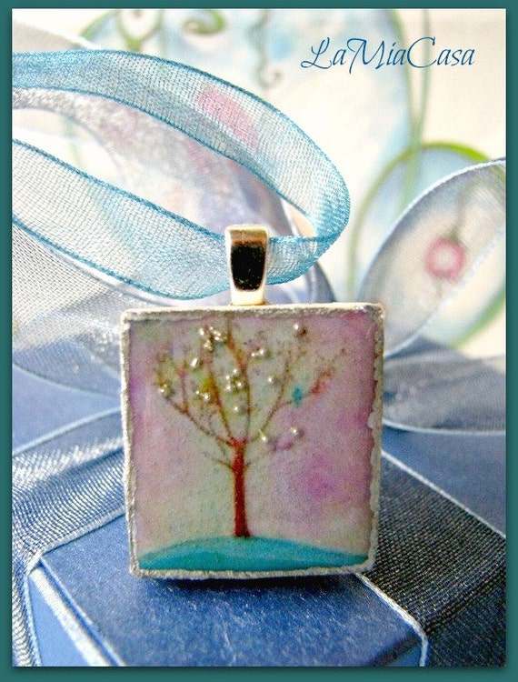 Scrabble tile necklace, Scrabble tile pendant, Blue Bird, Tree, Christmas stocking stuffers, party favors, gifts for her, teacher gifts,teal