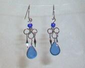 Blue Murano Glass Teardrop Peruvian Style Earrings