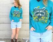 RACCOON Polo Sweater // Raccoon in the Flowers // 1980s Turquoise Sweater // Grandma Sweater // Women's Medium // Sweet Baby Animal Shirt