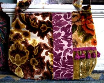 Boho bag in brown, purple and greens