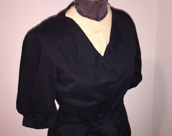 Vintage Elie Tahari Little Black Cotton Dress