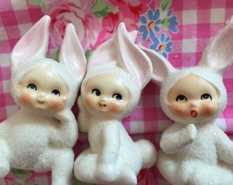 Vintage Ceramic Bunny Figurines..Bunny Pixes..Bunny Children..Super Cute..Collectibles!!!...AdorAble!!!