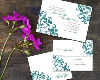 Baroque Frame Wedding Invitation Set, Classic Wedding Suite, DIY Digital Wedding, Wedding response cards, Thank you cards, Elegant Wedding