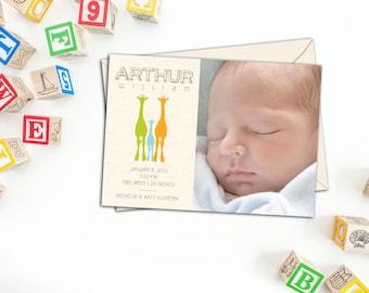 Giraffe Silhouette Baby Announcement, Birth Announcements, Photo Birth Announcement