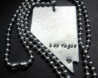 Personalized Custom Nevada Necklace, Key Chain or Ornament - Gift for Her - Silver Necklace - Jewelry - Nevada - Las Vegas -