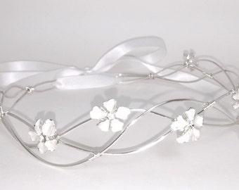 Bridal Hair Vine Tiara Head Band Headband Silver Rhinestone Wrap Ribbon Circlet Crown Wreath Wedding Formal Jewelry