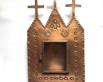 Tin Nicho #12 Church With Three Crosses