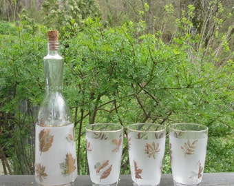 Mid Century Barware - Three Beverage Glasses and Matching Decanter - Gold Leaves