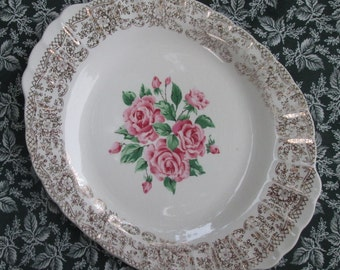 Vintage Sebring Pottery Serving Platter - China Bouquet With Gold