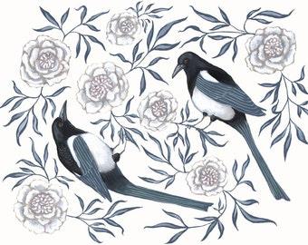 Magpie & Peony - Print