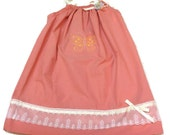 Childs Dark Peach Pillowcase Dress Size 3 to 4