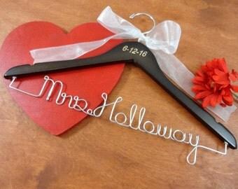 Wedding Dress Hanger - Engraved Bride Hanger - Wire Wedding Hanger - Hanger With Names - Wedding Keepsakes - Coat Hanger - Clothes Hanger