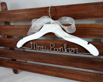 White Bride Hanger - White Dress Hanger - Gift for Bride - Unique Name Hanger - Wedding Dress Prop - Personalized Gift - Shower Gift