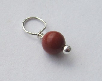 Red Jasper 4mm Sterling Silver Dangle Charm, With or Without Sterling Silver Jump Ring